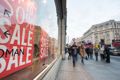 LONDON, ENGLAND – DECEMBER 30, 2014: Oxford street on sale sea. Son after Christmas. This street is a major shopping street of London Stock Photos