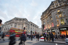 LONDON, ENGLAND – DECEMBER 30, 2014: Oxford street on sale sea. Son after Christmas. This street is a major shopping street of London Royalty Free Stock Photography