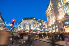 LONDON, ENGLAND – DECEMBER 30, 2014: Oxford street on sale sea. Son after Christmas. This street is a major shopping street of London Royalty Free Stock Image