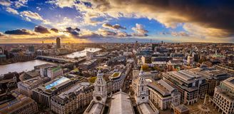 London, England - Aerial panoramic skyline view of London taken from top of St.Paul`s Cathedral with dramatic clouds Royalty Free Stock Photography