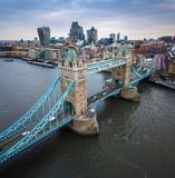 London, England - Aerial panormaic view of the iconic Tower Bridge and Tower of London on a cloudy moring Royalty Free Stock Photos