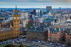 London, England - Aerial skyline view of the famous Big Ben with Houses of Parliament Stock Photo