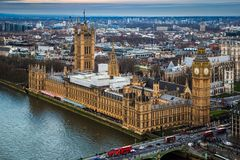 London, England - Aerial skyline view of the famous Big Ben with Houses of Parliament Stock Images