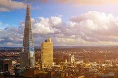 London, England - Aerial view of London`s highest skyscraper at sunset Royalty Free Stock Photography