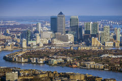 London, England - Aerial view of River Thames and the skyscrapers of Canary Wharf Stock Images