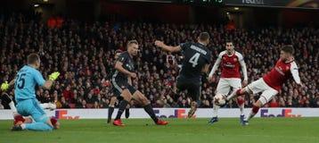 Arsenal FC v CSKA Moskva - UEFA Europa League Quarter Final Leg One. LONDON, ENGLAND - APRIL 05 2018: During the Europa League quarter final leg one match stock photo
