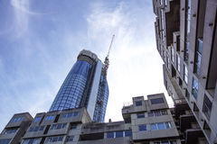 LONDON, ENGLAND - APRIL 25: `One Blackfriars` modern glass steel apartment block under construction. In London, England. Royalty Free Stock Photography