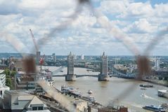 LONDON, ENGLAND - AUGUST 03, 2013: Areal view to Tower Bridge an Stock Photos