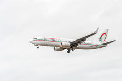 LONDON, ENGLAND - AUGUST 22, 2016: CN-RGG Royal Air Maroc Airlines Boeing 737 Landing in Heathrow Airport, London. Stock Photography