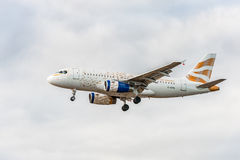 LONDON, ENGLAND - AUGUST 22, 2016: G-EUPA British Airways Olympic Dove Livery Airbus A319 Landing in Heathrow Airport, London. Stock Photo