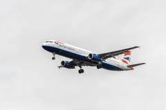 LONDON, ENGLAND - AUGUST 22, 2016: G-MEDJ British Airways Airbus A321 Landing in Heathrow Airport, London. Royalty Free Stock Image