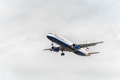 LONDON, ENGLAND - AUGUST 22, 2016: G-MEDL British Airways Airbus A321 Landing in Heathrow Airport, London. Stock Photo