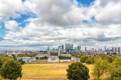 LONDON, ENGLAND - AUGUST 21, 2016: Greenwich Park and National Maritime Museum, Gardens, University of Greenwich,. Greenwich Park and National Maritime Museum Stock Photo