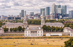 LONDON, ENGLAND - AUGUST 21, 2016: Greenwich Park and National Maritime Museum, Gardens, University of Greenwich, Old Royal Naval. Greenwich Park and National Royalty Free Stock Photos