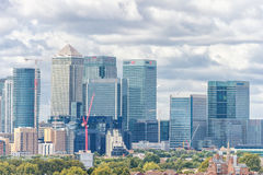 LONDON, ENGLAND - AUGUST 21, 2016: Greenwich Park and River Thames, Canary Wharf. London Cityscape Royalty Free Stock Images