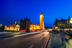 LONDON, ENGLAND - AUGUST 18, 2016: London Big Ben and Westminster Bridge with Palace of Westminster. Blurry people because of Long Stock Images