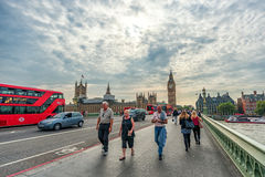 LONDON, ENGLAND - AUGUST 18, 2016: London Downtown with Big Ben, Thames River, Westminster Bridge and Palace of Westmnster. Stock Images