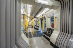 LONDON, ENGLAND - AUGUST 18, 2016: London Underground Train. District Line. Empty. No People. Stock Photography
