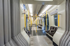 LONDON, ENGLAND - AUGUST 18, 2016: London Underground Train. District Line. Empty. No People. Royalty Free Stock Photos