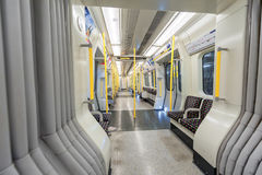 LONDON, ENGLAND - AUGUST 18, 2016: London Underground Train. District Line. Empty. No People. Royalty Free Stock Photo