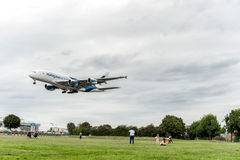LONDON, ENGLAND - AUGUST 22, 2016: 9M-MNE Malaysia Airlines Airbus A380 Landing in Heathrow Airport, London. Royalty Free Stock Photos