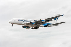 LONDON, ENGLAND - AUGUST 22, 2016: 9M-MNE Malaysia Airlines Airbus A380 Landing in Heathrow Airport, London. Stock Photography