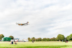 LONDON, ENGLAND - AUGUST 22, 2016: OY-JTT Jettime Jet Time Airlines Boeing 737 Landing in Heathrow Airport, London. Stock Photo