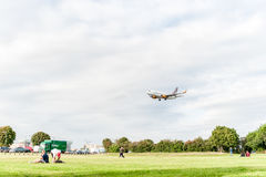 LONDON, ENGLAND - AUGUST 22, 2016: OY-JTT Jettime Jet Time Airlines Boeing 737 Landing in Heathrow Airport, London. Royalty Free Stock Photos