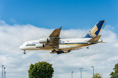 LONDON, ENGLAND - AUGUST 22, 2016: 9V-SKB Singapore Airlines Airbus A380 Landing in Heathrow Airport, London. Royalty Free Stock Image