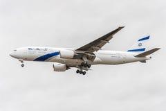 LONDON, ENGLAND - AUGUST 22, 2016: 4X-ECE El Al Israel Airlines Boeing 777 Landing in Heathrow Airport, London. Royalty Free Stock Photo