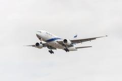 LONDON, ENGLAND - AUGUST 22, 2016: 4X-ECE El Al Israel Airlines Boeing 777 Landing in Heathrow Airport, London. Stock Photos