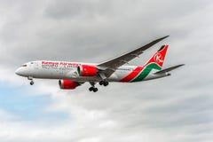 LONDON, ENGLAND - AUGUST 22, 2016: 5Y-KZD Kenya Airways Boeing 787-8 Dreamliner Landing in Heathrow Airport, London. Royalty Free Stock Photography