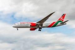 LONDON, ENGLAND - AUGUST 22, 2016: 5Y-KZD Kenya Airways Boeing 787-8 Dreamliner Landing in Heathrow Airport, London. Stock Photo