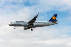 LONDON ENGLAND - AUGUSTI 22, 2016: För flygbolagflygbuss A320 för D-AIUS Lufthansa landning i den Heathrow flygplatsen, London Fotografering för Bildbyråer