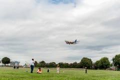 LONDON ENGLAND - AUGUSTI 22, 2016: Flygbolag Boeing 737 som för LN-TUA SAS landar i den Heathrow flygplatsen, London Arkivbild