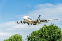 LONDON ENGLAND - AUGUSTI 22, 2016: Landning för flygbuss A380 för 9V-SKB Singapore Airlines i den Heathrow flygplatsen, London Arkivbild