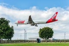LONDON ENGLAND - AUGUSTI 22, 2016: PT-MUC LATAM Brasilien TAM Linhas Aereas Boeing 777 som landar i den Heathrow flygplatsen, Lon Royaltyfria Foton