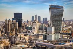 London, England - Bank district and Canary Wharf, the two leading financial districts of the world in central London. With famous skyscrapers and other Royalty Free Stock Image