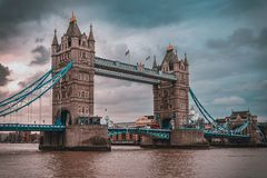 Free LONDON, ENGLAND, DECEMBER 10th, 2018: Tower Bridge In London, The UK. Sunrise With Beautiful Clouds. English Symbols Royalty Free Stock Image - 153339436