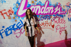 LONDON, ENGLAND - DECEMBER 02: Alessandra Ambrosio backstage at the annual Victoria's Secret fashion show Stock Image
