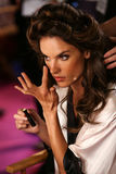 LONDON, ENGLAND - DECEMBER 02: Alessandra Ambrosio backstage at the annual Victoria's Secret fashion show Stock Photo