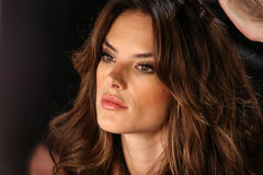 LONDON, ENGLAND - DECEMBER 02: Alessandra Ambrosio backstage at the annual Victoria's Secret fashion show Stock Images