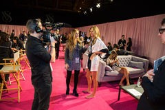 LONDON, ENGLAND - DECEMBER 02: Atmosphere backstage at the annual Victoria's Secret fashion show Royalty Free Stock Image