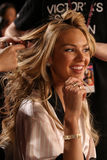 LONDON, ENGLAND - DECEMBER 02: Candice Swanepoel poses backstage at the annual Victoria's Secret fashion show Stock Photo