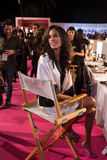 LONDON, ENGLAND - DECEMBER 02: Cindy Bruna backstage at the annual Victoria's Secret fashion show Stock Images