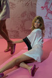 LONDON, ENGLAND - DECEMBER 02: Constance Jablonski poses backstage at the annual Victoria's Secret fashion show Royalty Free Stock Images