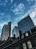 London, England, 16 december 2018 / Contrast between antique/modern buildings in the financial area of Liverpool Street, edited fo. R instagram or travel blog royalty free stock photography