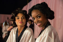LONDON, ENGLAND - DECEMBER 02: Daniela Braga (L) and Maria Borges (R) backstage Stock Photo