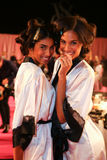 LONDON, ENGLAND - DECEMBER 02: Imaan Hammam and Cindy Bruna are seen backstage Stock Images