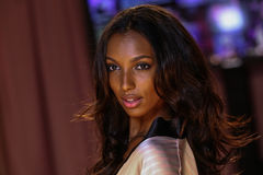 LONDON, ENGLAND - DECEMBER 02: Jasmine Tookes poses backstage at the annual Victoria's Secret fashion show Stock Photo